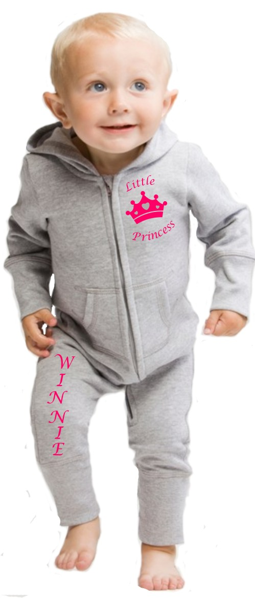 "Lovely Babybugz supersoft Baby All in One or Onesie printed ""Little Princess"" curved around a crown and printed with your baby's name down the right leg."
