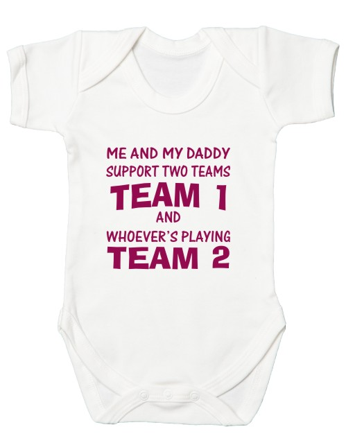 If you can't find the design for the teams you would like then you can custom print your own football bodysuit. Daddy can be changed to another name.