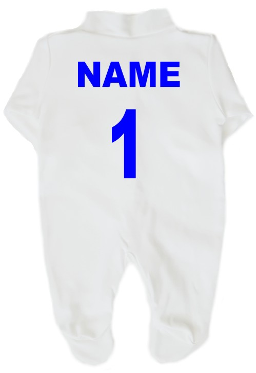 This 100% cotton, white, machine washable babygrow comes personalised on the back with a name and/or number. A soft vinyl print which will not crack or fade