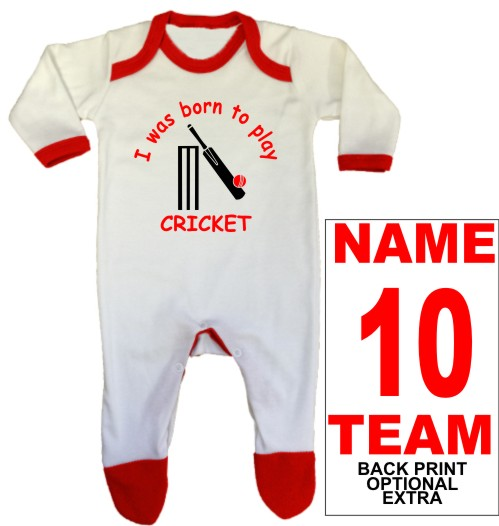 An adorable baby rompersuit printed Born to play CRICKET which can be personalised with a back print name, number and team name as optional extras