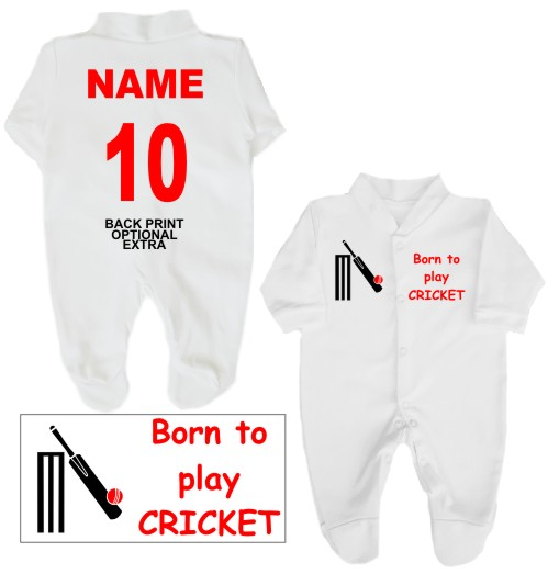Babygrow or Sleepsuit printed on the left breast with Born to play CRICKET and featuring a cricket bat and ball on the right breast.