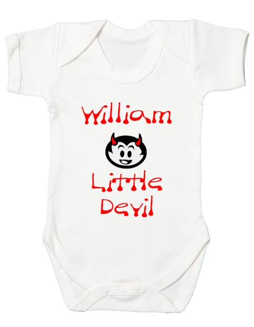 """This fantastic quality halloween themed babies bodysuit comes printed with the slogan """"Little Devil"""" and can be personalised with your baby's name."""