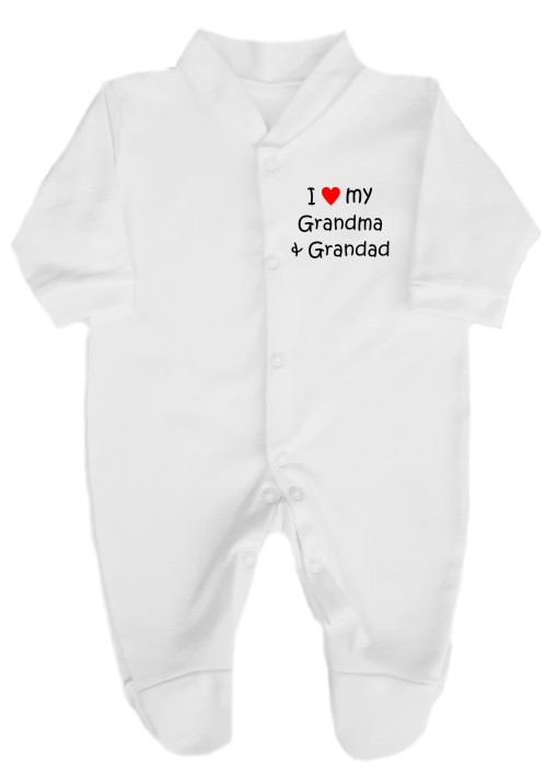 "This lovely baby's babygrow sleepsuit is made with easy and secure press-stud fitting. Printed ""I love (red heart) my Grandma & Grandad."""