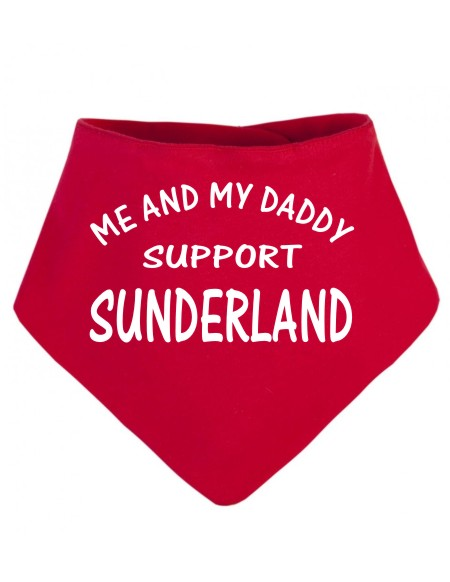 """A baby's Dribble Bib for the football enthusiasts. Printed """"Me and my Daddy support Sunderland"""". If you prefer Daddy can be changed to another name"""