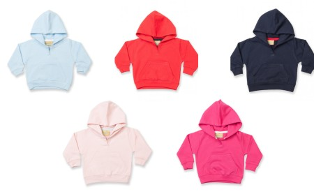 This is a lovely soft baby's hoodie or hooded sweatshirt for babies aged 6-12 months available in: Pale Blue, Navy Blue, Pale Pink, Fuschia Pink or Red.
