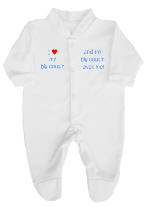 "This 100% cotton white babygrow will make a lovely baby gift. Printed as shown above with ""I love my big cousin"" ""and my big cousin loves me""."