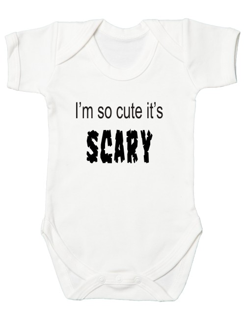 This fantastic quality halloween themed baby's bodysuit comes printed with the slogan Cute and SCARY. Comes in a soft print which will not crack or fade