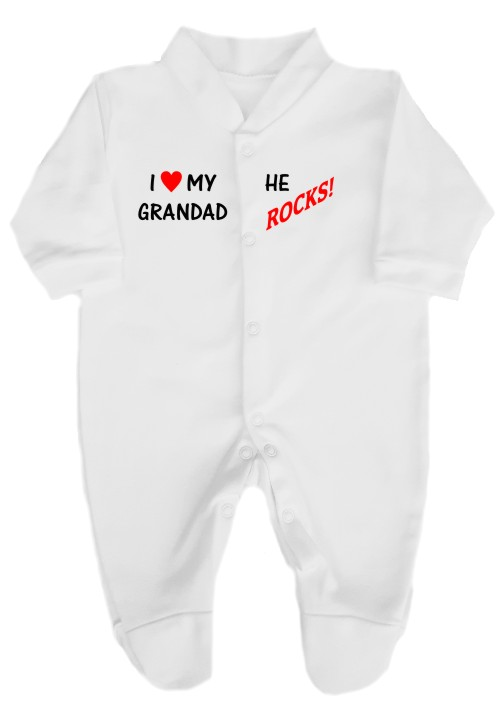 This 100% cotton white, machine washable babygrow will make a lovely baby gift. Printed as shown with I love my Grandad ... He ROCKS!