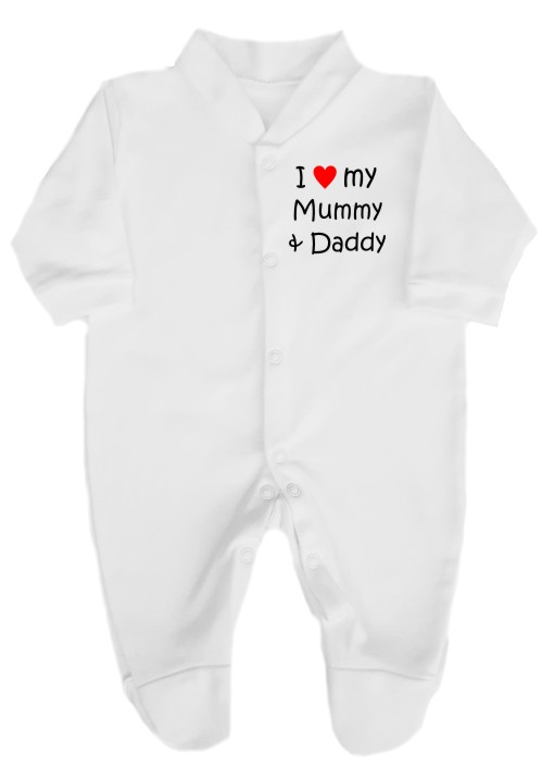 "This lovely baby's babygrow sleepsuit is made with easy fitting and secure press-stud fastenings. printed ""I love (red heart) my Mummy & Daddy""."