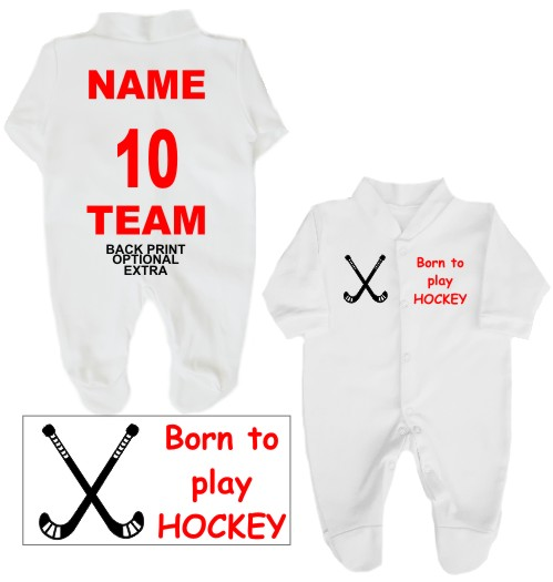 Babygrow printed on the left breast with Born to play HOCKEY and featuring a pair of hockey sticks on the right breast. Choice of text colours