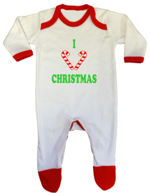 An adorable christmas themed baby rompersuit in christmas colours. Printed with I heart Christmas with two candy sticks in place of the word heart.