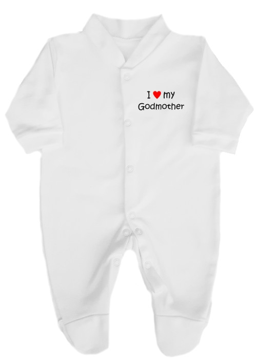 "This 100% cotton white babygrow will make a lovely baby gift. Printed as shown above with ""I love (heart) my Godmother. Choice of print colours"