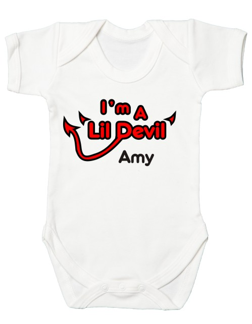 This fantastic quality halloween themed babies bodysuit comes printed with the slogan Lil Devil and can be personalised with your babies name.