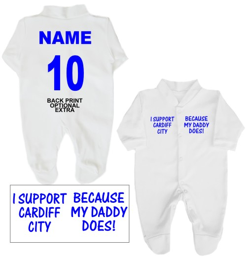 Here we have for sale an adorable 100% cotton Babygrow printed on the front with I support Cardiff City ... Because my Daddy does!