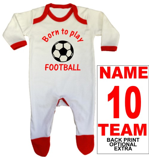 An adorable, red, baby rompersuit printed Born to play FOOTBALL which can be personalised with a back print name, number and team name as optional extras.