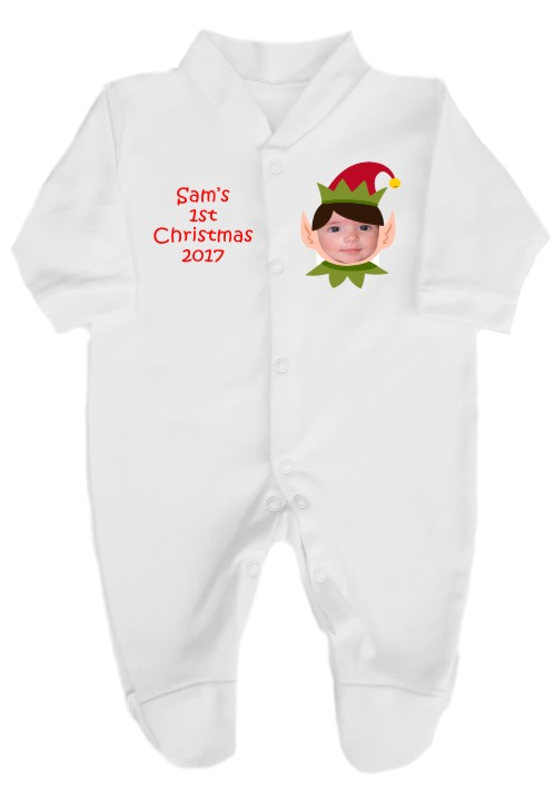 a0c78f7bc712 Your baby s photo in this cute christmas elf design is printed on a white  babygrow with