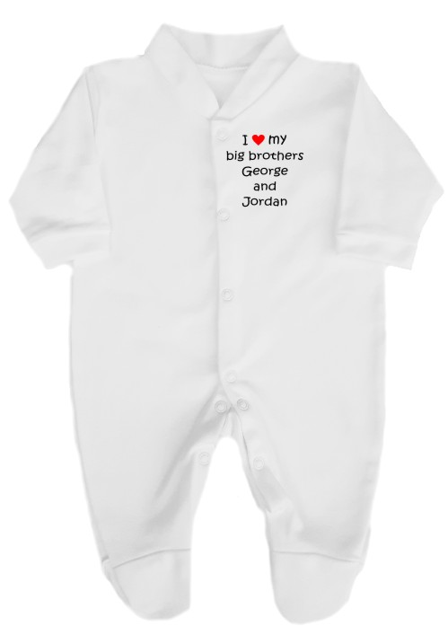 This 100% cotton babygrow would make a lovely baby gift printed I love my big brothers you can add 2 brothers names. Available choice of text colours