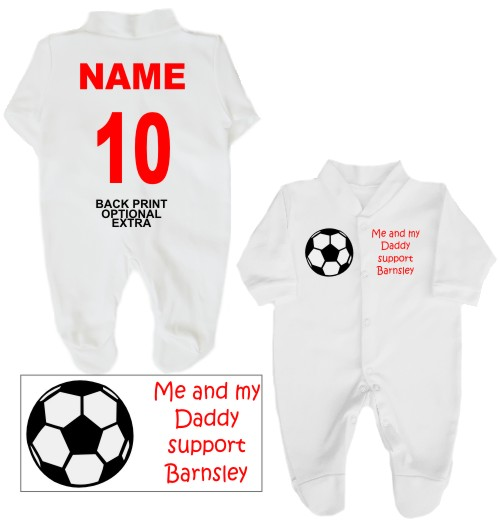 Football babygrow printed on the front with a football and Me and my Daddy support Barnsley. If you prefer we can change Daddy to another name