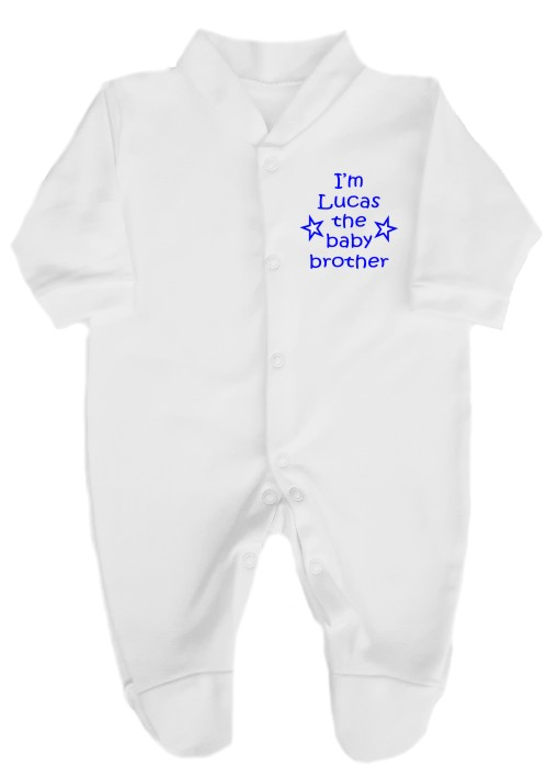 This is such a cute babygrow. Printed with 'I'm (name) the baby brother' and features a couple of little stars. Personalised with baby's name.