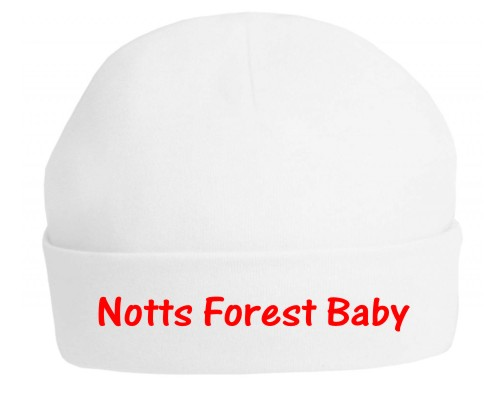 "Nottingham Forest fans will love this 100% soft cotton hat printed ""Notts Forest Baby"". Made in a red vinyl print that will stretch with baby's hat."