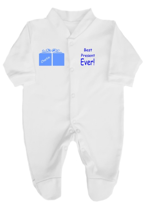 A baby is no doubt the beest present ever. This babygrow comes printed with the slogan Best Present Ever and a present with baby's name on it.