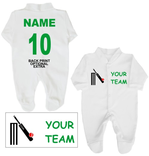 Babygrow or Sleepsuit printed on the left breast with your cricket team name and and featuring a cricket bat and ball on the right breast.