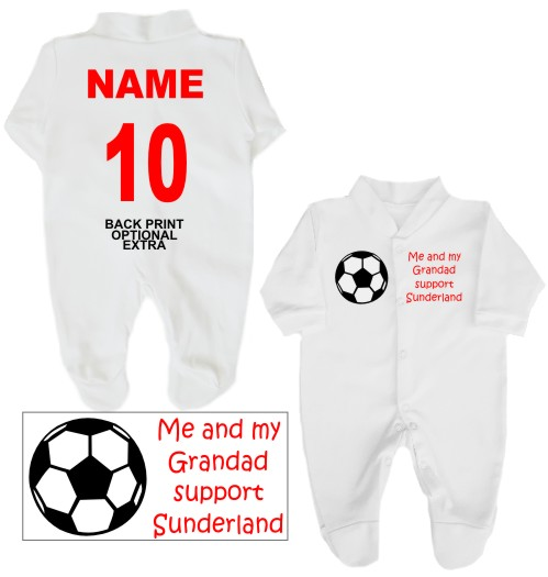 Football babygrow printed on the front with a football and Me and my Grandad support Sunderland. White babygrow with print in red or pink with a black ball.