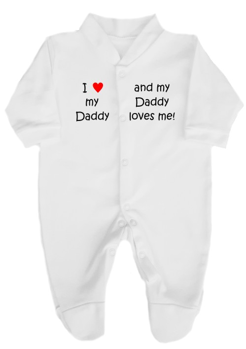 "This 100% cotton white babygrow will make a lovely baby gift. Printed as shown above with ""I love my Daddy"" ""and my Daddy loves me""."