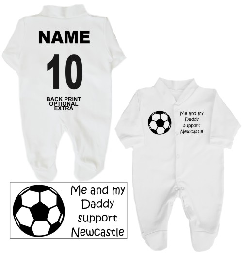 Football Babygrow printed on the front with a football and Me and my Daddy support Newcastle. If you prefer we can change Daddy to another name