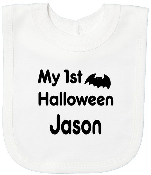 Personalise this baby's bib printed with the cute slogan My 1st Halloween, a bat for Halloween and baby's name . Print colour black.