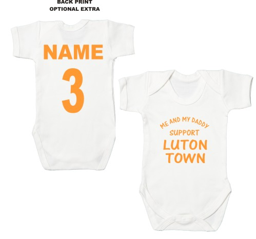 bb3e102f41cd Cute customisable baby's bodysuit printed with Me and My Daddy Support  Luton Town. We can