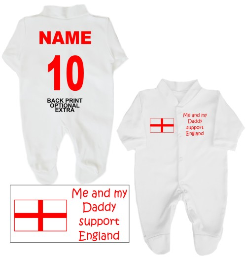 Football babygrow printed on the front with Me and my Daddy support England and St George flag. If you prefer we can change Daddy to another name