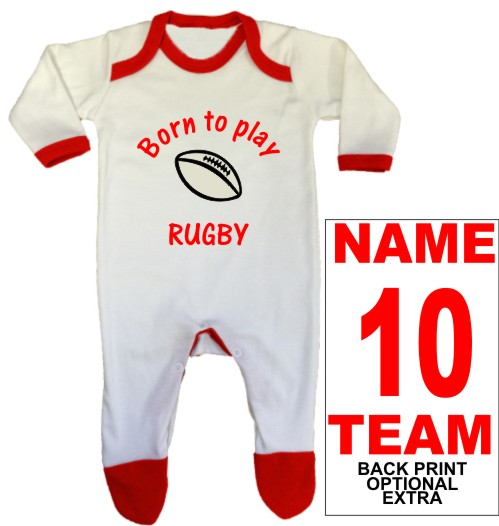 An adorable,red, baby rompersuit iprinted Born to play RUGBY which can be personalised with a back print name, number and team name as optional extras.