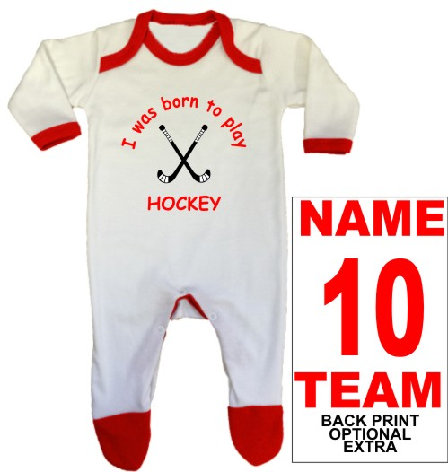 An adorable, red, baby rompersuit printed Born to play HOCKEY which can be personalised with a back print name, number and team name as optional extras.