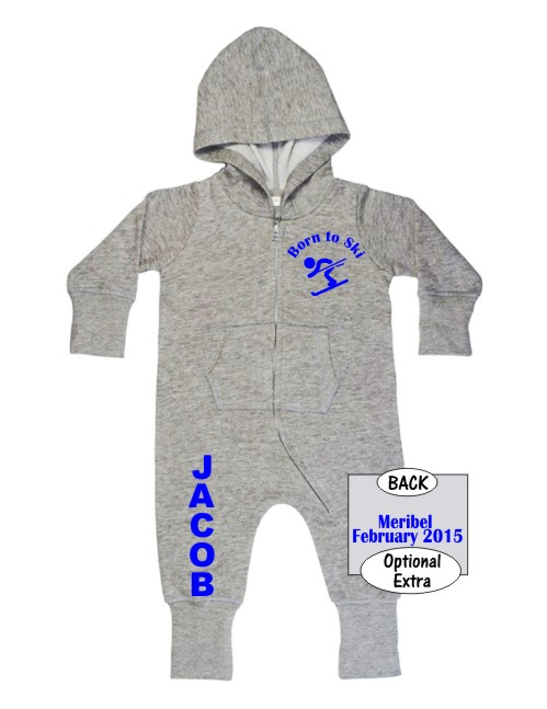 """Lovely Babybugz supersoft Baby All in One or Onesie printed """"Born to Ski""""curved around a silhouette of a skier with your baby's name down the rightleg."""