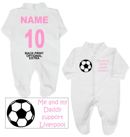 Me And My Daddy Support Liverpool Babygrow The Bees Tees