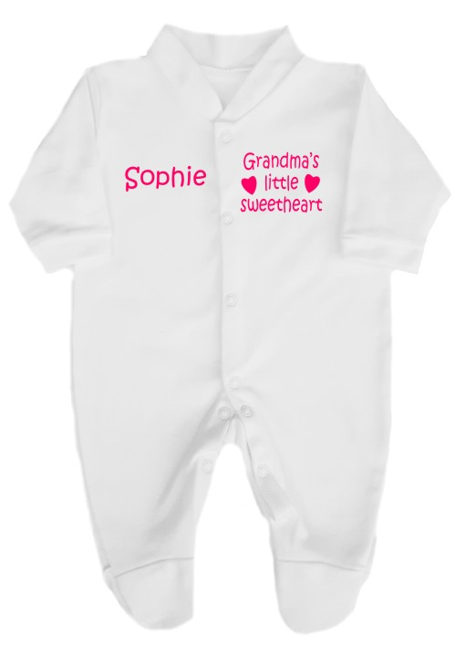 This cute babygrow comes printed as shown above with the slogan Grandma's little sweetheart. Baby's name can also be added