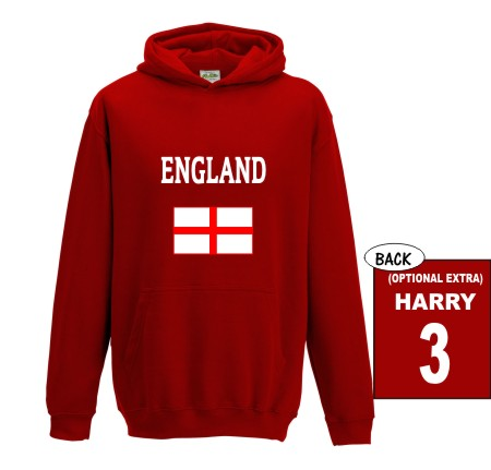 """This quality child's hoodie is available in sizes 1 to 11 years and is printed """"ENGLAND""""with the St George flag underneath."""