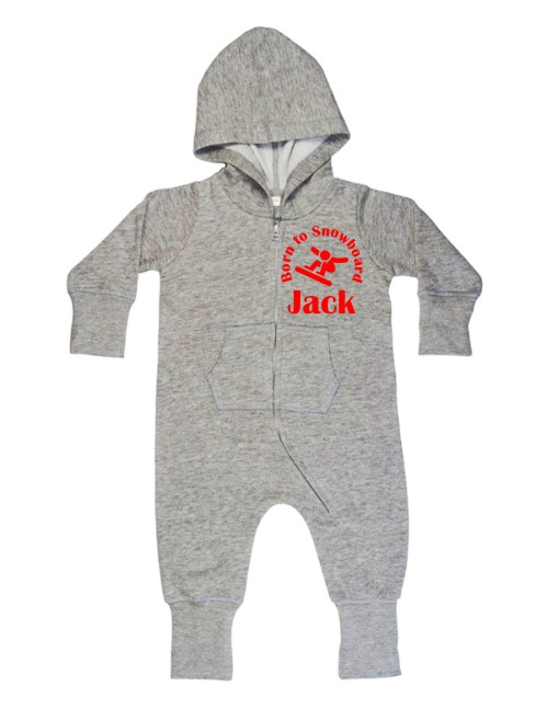 """Lovely Babybugz supersoftSnowboardingAll in One or Onesie printed """"Born to Snowboard"""" andbaby's name. Choice of print colours."""
