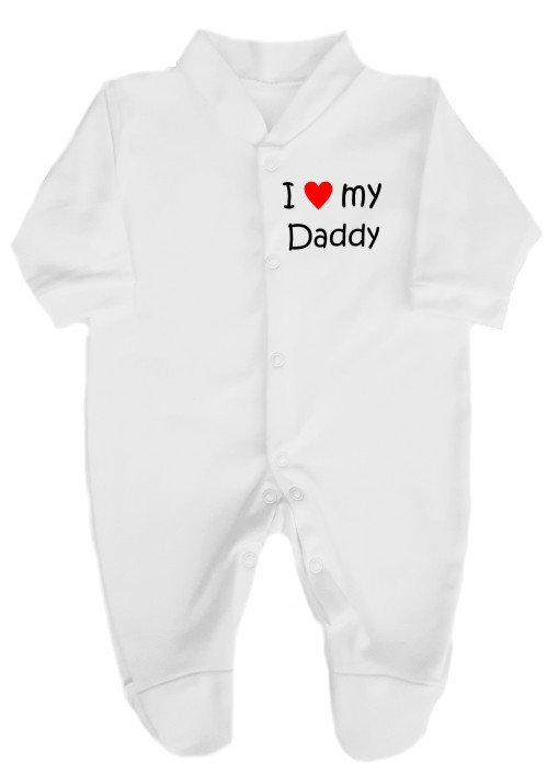 "This lovely baby's babygrow sleepsuit is made with easy fitting and secure press-stud fastenings. Printed ""I love (red heart) my Daddy""."