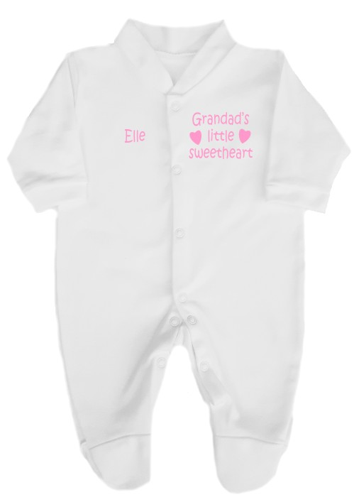 This cute babygrow comes printed as shown above with the slogan Grandad's little sweetheart. Baby's name can also be added.
