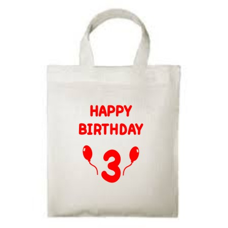 A reuseable 100% cotton children's Tote Bag, printed Happy Birthday with the child's age and balloons.