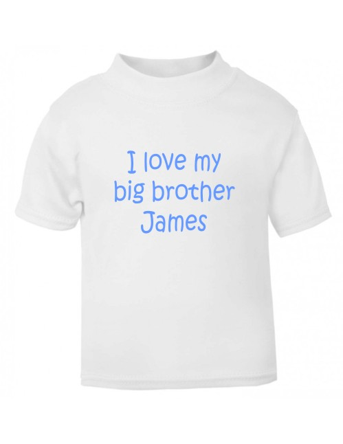 Kids personalised t-shirt printed on the front with the wording I love my big brother and his name. Made using a soft vinyl print which will not fade.