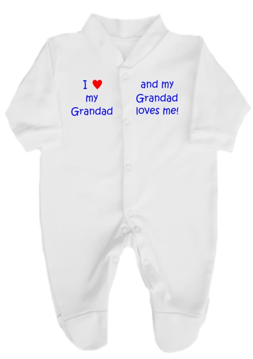 "This 100% cotton white babygrow will make a lovely baby gift. Printed as shown above with ""I love my Grandad"" ""and ""my Grandad loves me""."