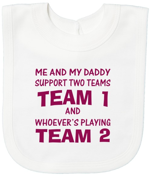All football teams have their rivals. This is your opportunity to choose your team and their rival team with this white cotton printed baby bib.