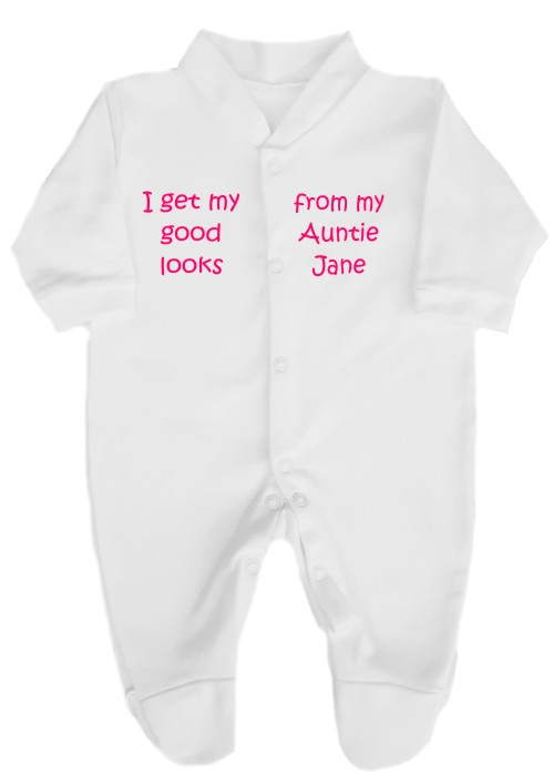 This 100% cotton white babygrow will make a lovely baby gift. Printed as shown above with I get my good looks from my Auntie and her name can be added.