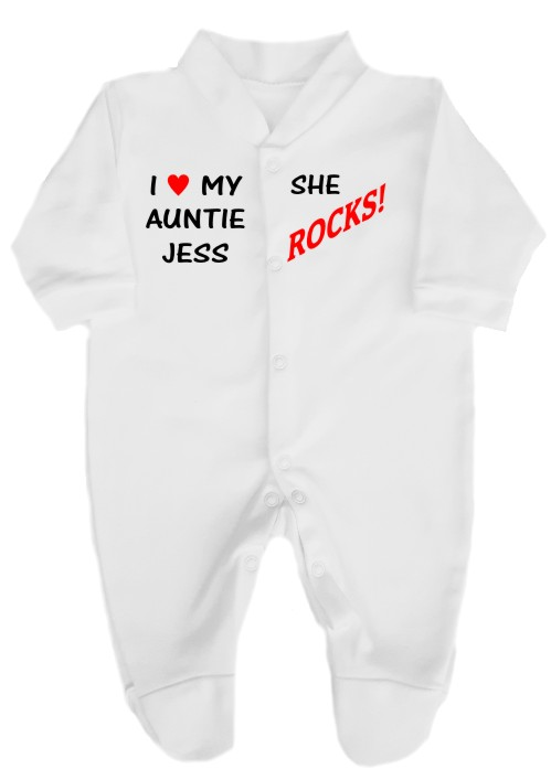 "This 100% cotton white babygrow will make a lovely baby gift. Printed as shown above with ""I love my Auntie (name)... She rocks!""."