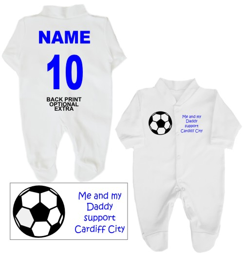 Football Babygrow printed on the front with a football and Me and my Daddy support Cardiff City. If you prefer we can change Daddy to another name