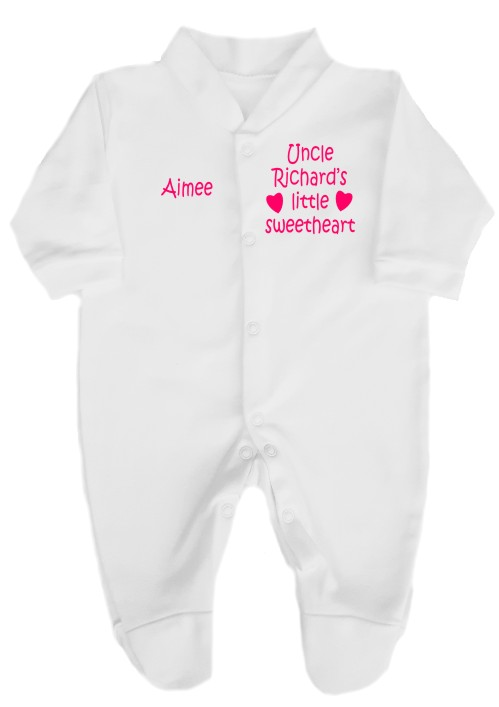 """This babygrow comes printed as shown above with the slogan """"Uncle (insert name here)'s little sweetheart"""". Personalise with baby's name."""