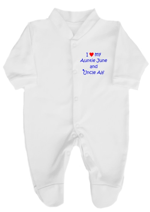 "This white cotton babygrow will make a lovely baby gift. Printed as shown above with ""I love (heart) my Auntie and Uncle. Personalised with their names."